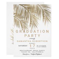 Modern gold palm tree elegant graduation party card - custom diy cyo personalize gift idea