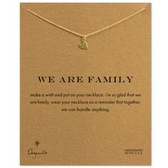 we are family sideways heart necklace, gold dipped, 16 inch