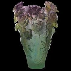 Daum Crystal Rose Passion Magnum Vase Green & Purple - Limited To 99 Pieces Worldwide