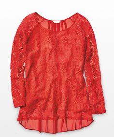 Signature Studio Solid Color Floral Lace Hi-Lo Top – Misses