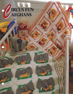 🐘 ⛺ Padrões Mantas afegão crochê Circus Diversão malha itens decorativos Criações - / 🐘 ⛺ Patterns Afghans Crochet Circus Fun Knit Knacks Creations -