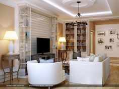 Living Room Designs, Cool Decorating Ideas Living Room With White Modern Couch And Armchairs Also Twin Classic Elegant Untreated Occasional ...