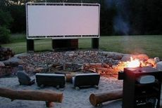 Outdoor Theater - Stretching canvas in PVC pipe frame and doing a projector to it!