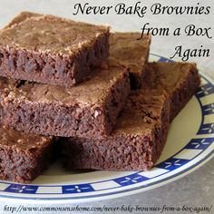"Never Bake Brownies from a Box Again - Quick and Easy Homemade Brownies @ Common Sense Homesteading okay. tastes exactly like ""box"" brownies and NO GMOs! Brownie Recipes, Cake Recipes, Dessert Recipes, Just Desserts, Delicious Desserts, Yummy Food, Baking Recipes, Real Food Recipes, Sweet Recipes"