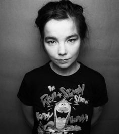 Here is another portrait of the Icelandic musician Björk.  The portraits of her are always creative and is over flowing with personality.  This one almost looks like a mug shot.  The light is coming down upon her with a dark background.