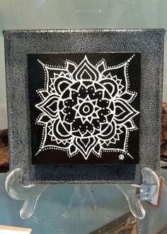 Mandala design applied using white glass relief  outliner