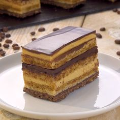 Opera Cake with Chocolate and Coffee Crockpot Dessert Recipes, Coffee Recipes, Baking Recipes, Cake Recipes, Snack Recipes, Fancy Desserts, No Cook Desserts, Elegant Desserts, Opera Cake
