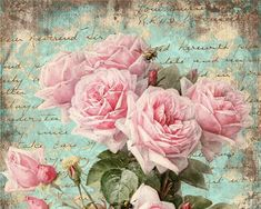 rosas postal celeste turquesa Shabby Roses Pink Greeting Cards - Digital Collage Sheet best for paper craft, jewelry holders, digital backgrounds - SHABBY ROSES FOREVER Decoupage Vintage, Vintage Diy, Vintage Ephemera, Vintage Cards, Vintage Paper, Vintage Style, Vintage Rosen, Images Vintage, Rose Wallpaper