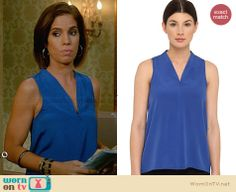 Marisol's blue zip front top on Devious Maids Ana Ortiz, Devious Maids, Zip Ups, Cute Outfits, Sari, Net, Fashion Outfits, Sapphire, Blue