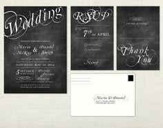 DIY Chalkboard Wedding Invitations | PREMIUM - Chalkboard Wedding Invita tion - calligraphy, blackboard ...
