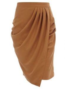 camel draped skirt