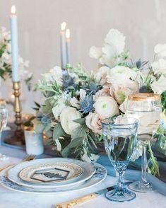 58 Inpriations to Create Dusty Blue Wedding - Table Decor - tischdekoration hochzeit Wedding Table Decorations, Wedding Table Settings, Wedding Themes, Wedding Colors, Wedding Ideas, Wedding Reception, Wedding Hacks, Wedding Photos, Space Wedding