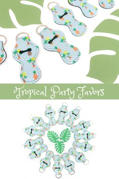 Tropical theme party favors are fun for adults and kids. From a pool party, luau or beach bachelorette party, these pineapple keychains are sure to please. The cute pattern features palm trees and pineapples. Add the keychains to tropical theme goodie bags or display them on a table to add to your beach party decor. Gift them to your friends for a girls beach getaway. Take the guess work out of beach party planning with an easy party favor idea that is unique and fun! Visit Etsy to purchase!