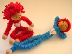 Valentine bendy doll, natural toy, bamboo yarn, red, white, wooden, heart, love, Valentine for boy or girl.