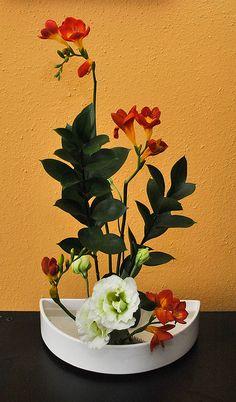 Freesia Ikebana in bloom by tokyofortwo, via Flickr #Florals #Floral Design #Flower Arrangements