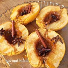 membrillos asados Food Bowl, Kitchen Recipes, Slow Cooker, Shrimp, Garlic, Peach, Fruit, Vegetables, Cooking
