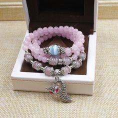 fox pendant vintage rose quartz handmade beaded multi-layer charm bracelets natural stone bracelets antique silver for women