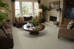This elegant room is clean and simple and the carpet choice ties the room together and is even eco-friendly! Wool carpet is very durable and a green choice, and once you feel the softness underfoot, you won't want anything else!