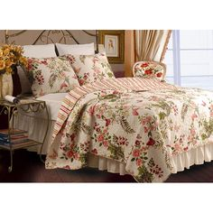 Feel as though you are sleeping every night in a lovely garden with this oversized quilt set that features a soft 100 percent cotton construction with a vermicelli stitch. The feminine colors with a butterfly and floral design add romance to any room.