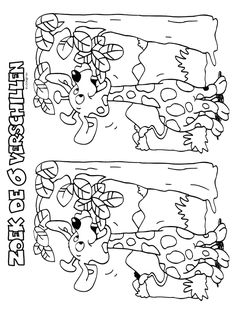 Kleurplaat Zoek de 6 verschillen - Kleurplaten.nl Coloring For Kids, Coloring Books, Coloring Pages, Find The Difference Pictures, Hidden Pictures Printables, Picture Puzzles, Activity Sheets, Color Activities, Puzzles For Kids