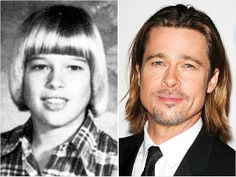 Brad PittAs an adult, he's often resembled a Ken Doll, but as an 8th grader in Missouri, Brad Pitt had He-Man hair! Even now at 48, the new celebrity face for Chanel No. 5 is still rocking long locks -- but thankfully, he's ditched stick-straight bangs and ladylike bob from this childhood yearbook pic.