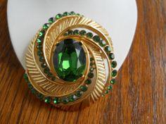 Vintage Crown Trifari Green Rhinestone by JanesVintageJewels, $55.00