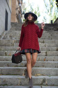 photo courtesy: Lovely Pepa Why it works: Another nice balance of an oversized cable knit turtleneck with a plaid short A-line mini.