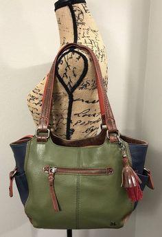bc17a5b1508 THE SAK Kendra Pebbled Leather Purse Satchel Green Blue Handbag Rare Color