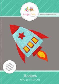 Rocket applique pattern. PDF download rocket applique template. Spaceship applique design.