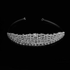 Wedding Bridal Tiara Crown Silver Wide Band Swarovski Rhinestone Elements ** Find out more about the great product at the image link.