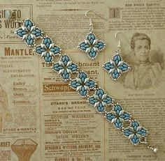 Linda's Crafty Inspirations: Roundabout Bracelet & Earrings - Blue & Silver