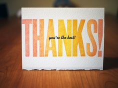 Letterpress Thanks Card (with deckled edge) by CompassAndCloud on Etsy, $4.00