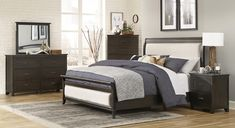 """Homelegance 1923NB-4PC 4 pc Darby home co Hebron dark cherry finish wood padded headboard and footboard bedroom set. This set includes the Bed, Nightstand, Dresser, Mirror. Bed measures 65"""" x 92"""" x 56"""" H. Nightstand measures 25"""" x 18"""" x 28"""" H. Dresser measures 62"""" x 18.5"""" x 40"""" H. Mirror measures 40"""" x 2"""" x 33.5"""" H. Chest available separately at additional cost and measures 37"""" x 18.5"""" x 56.5"""" H. Also available in Cal... Bedroom Sets, Bedding Sets, Mirror Bed, Dresser Mirror, Dressing Table Mirror, Cherry Finish, Headboard And Footboard, Bed Furniture, Nightstand"""