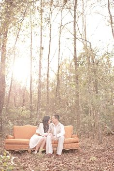 Using a piece of furniture like this to tie in main wedding color would be a great but simple tie in. Coral themed engagement shoot (photos by Julie Paisley Photography)