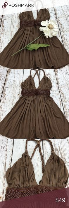 """💕SALE💕Sky Brown Leather Braided Halter Top Gorgeous 💕Sky Brown Leather Braided Halter Top 25"""" from the top of the shoulder to the bottom Sky Tops"""