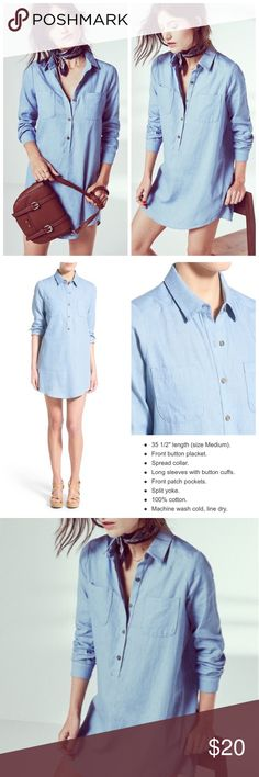 Cotton Chambray Denim Shirtdress Beautiful and simple chambray Shirtdress that looks like denim in excellent gently used condition. Tags have been removed from the collar, so I'm not sure what size it is, but it seems like it would fit a medium perfectly. Will update with measurements later. Socialite Dresses
