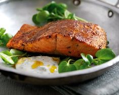 Pan fried cajun salmon, so delicious when you mix it with a good caesar salad!