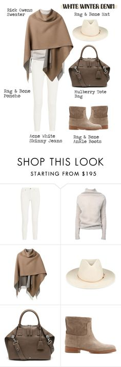 """""""On Trend: Winter White Denim"""" by alaria ❤ liked on Polyvore featuring Acne Studios, Rick Owens, rag & bone, Mulberry, whitejeans and winterwhite"""