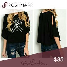 SLIT SLEEVE TOP! Coming soon! Like to be notified! Cute woven top with slit flutter sleeves and snowflake embroidered detail! Cute and sassy and ready for the season!!  100% rayon  Additional pics and description will be added once item arrives! Vabfashion Tops