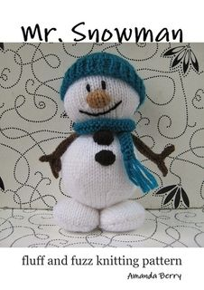 Mr Snowman toy knitting pattern - Christmas decoration