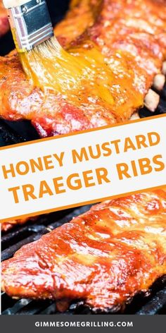 Honey Mustard Smoked Ribs are made with the 3-2-1 smoked ribs method so they are tender, fall off the bone perfection every single time. These Traeger ribs are smoked on your pellet grill after they are prepared with a homemade rub. During the last step of smoking these ribs they are brushed with a delicious honey mustard sauce. A great twist on smoked ribs! #smoked #ribs via @gimmesomegrilling Traeger Recipes, Rib Recipes, Grilling Recipes, Game Recipes, Barbecue Recipes, Recipes Dinner, Homemade Honey Mustard, Honey Mustard Sauce, Smoked Pork Ribs