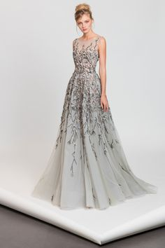 Tony Ward RTW SS17 I Style 10 I Light blue A-line tulle dress with cascading pink and black embroideries and a sheer neckline