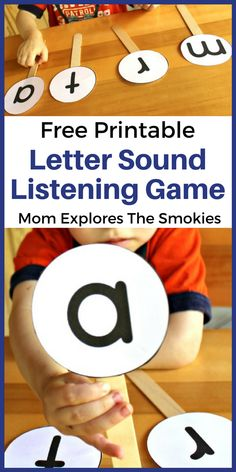 This letter sounds listening game is a great way to practice the early literacy skill of matching letters to letter sounds. Phonics Activities, Kids Learning Activities, Alphabet Activities, Toddler Learning, Fun Learning, Preschool Alphabet, Games For Preschoolers, Alphabet Learning Games, Preschool Phonics