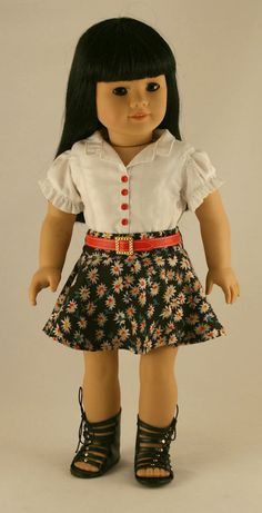 American Girl Doll Clothes - Skater Skirt, Ruffled Blouse, and Red Belt