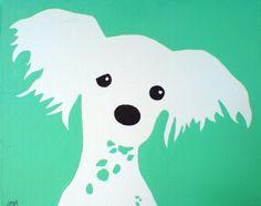 Chinese Crested Dog  original acrylic painting on by HooblyDoobly, $40.00