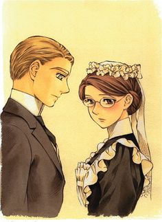 William and Emma from Emma- A Victorian Romance. It's the perfect gentle romance, and I'm not usually a fan of that genre!