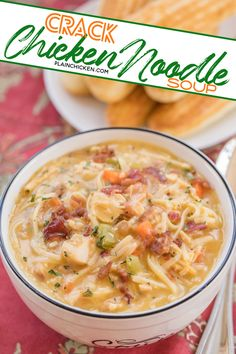 Crack Chicken Noodle Soup - this soup should come with a warning label! Ready in 30 minutes! Easy Soup Recipes, Chicken Recipes, Cooking Recipes, Healthy Recipes, Crockpot Recipes, Instapot Soup Recipes, Healthy Soups, Cheap Recipes, Budget Recipes