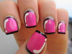 Pink manicure: 30 ideas of nail art - Nail art designs & diy Pink Gel, Hot Pink Nails, Pink Nail Art, Black Nails, Ongles Gel Violet, How To Do Nails, Fun Nails, Prom Nails, Manicure Rose