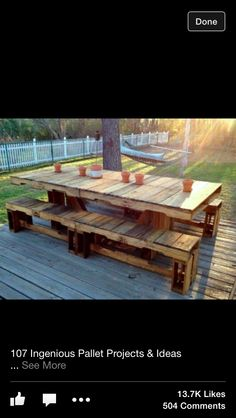 Outside table made from pallets