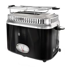 Russell Hobbs Retro Style Black Stainless Steel Toaster with Built-In Timer - The Home Depot Stainless Steel Toaster, Stainless Steel Refrigerator, Black Stainless Steel, Specialty Appliances, Small Kitchen Appliances, Kitchen Gadgets, Rv Living, Hobbs